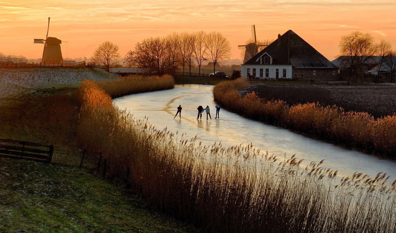 лед, река, дек, закат,