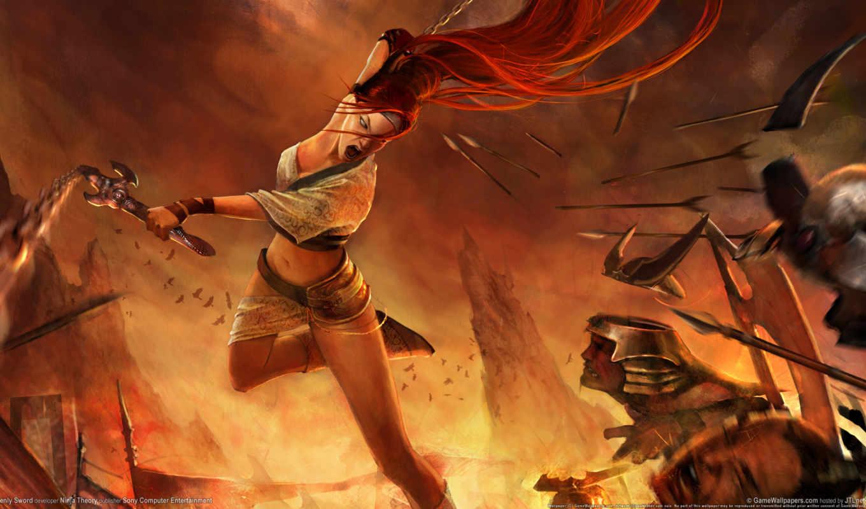 воин, женщина, оружие, огонь, девушка, горы, битва, меч, heavenly, fantasy,
