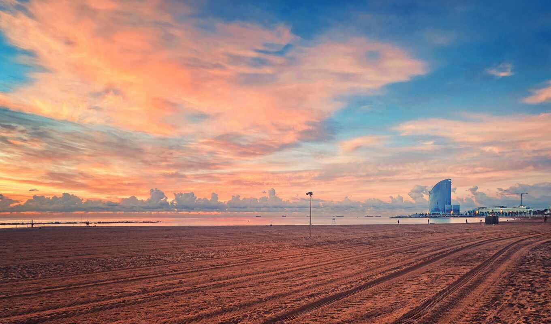 пляж, барселона, закат, water, испания, ocean, песок, zadarma, небо