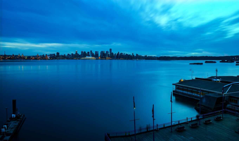 город, окно, ночь, канада, река, water, vancouver, причал, тема