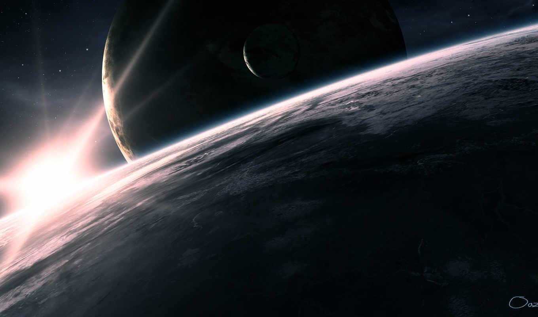космос, планеты, спутник, звезда, свет,