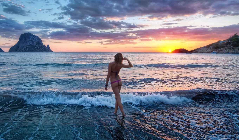 море, девушка, пляж, девушки,