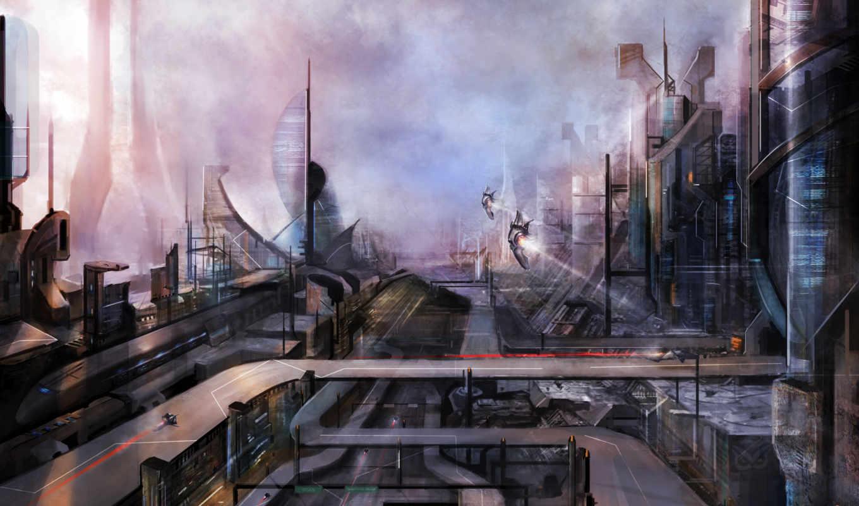 будущее, art, фантастика, город, фэнтези,