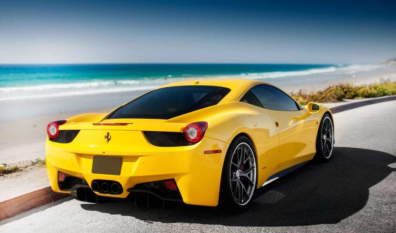 ferrari, желтая, italia,