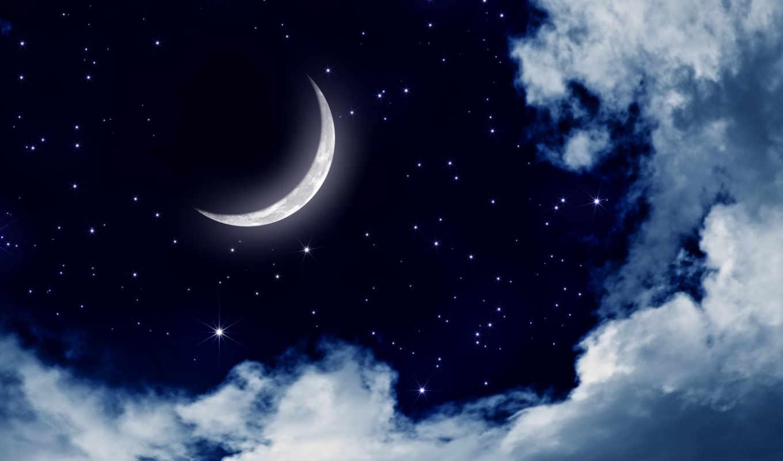 ночь, небо, луна, природа, города, облака, landscape,