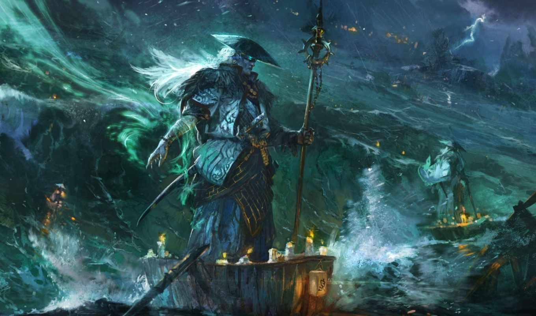 море, fantasy, буря, шлюпки, взгляд, свечи, люди, magi, art,