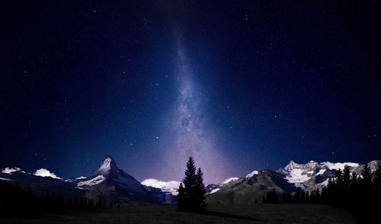 ночь, stars, mountains, небо, путь, природа, млечный,