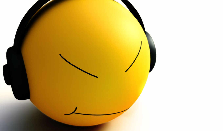 смайл, наушниках, музы, настроение, под, headphones, смайл,