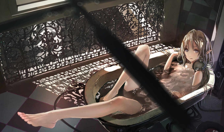 эльф, наушники, ванна, and, again, лежит, ванной, аниме,