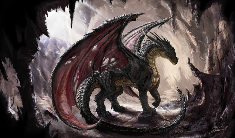 дракон, пещера, dragon, крылья, чешуя, свет, солнечный, пещере, картинка, арт, пищера,