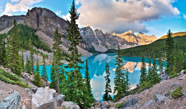 озеро, морейн, находится, банф, канада, красивое, пределах, невероятно, парка, национального, спокойное, национальном, ледниковое,