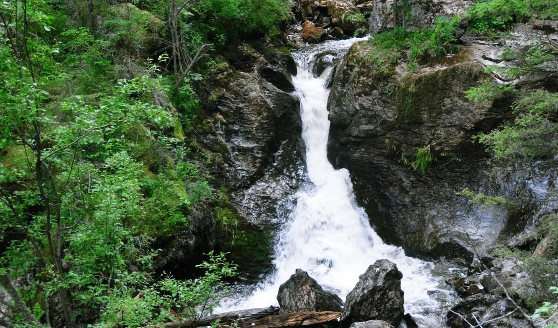 природа, водопад, камни,зелень,река,