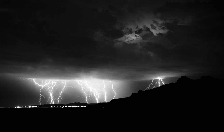 lightning, ночь, огни, молнии, hill, буря, тучи, electricity, дома,
