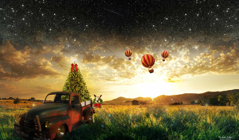 фоны, favourite, природа, новогодняя, воздушные, шары,