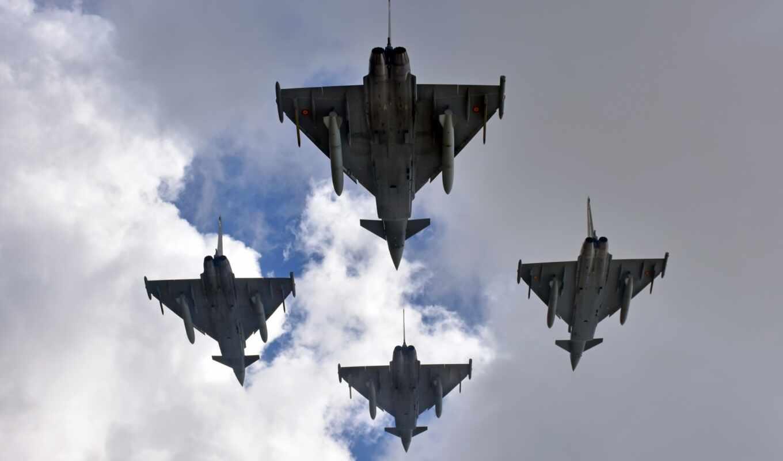 eurofighter, typhoon, самолёт, истребитель, warplane, реактивный, взгляд, rate