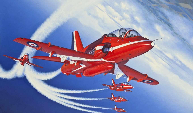 hawk, bae, рисунок, самолет, учебно, тренировочный, red, arrows, арт, картинка,