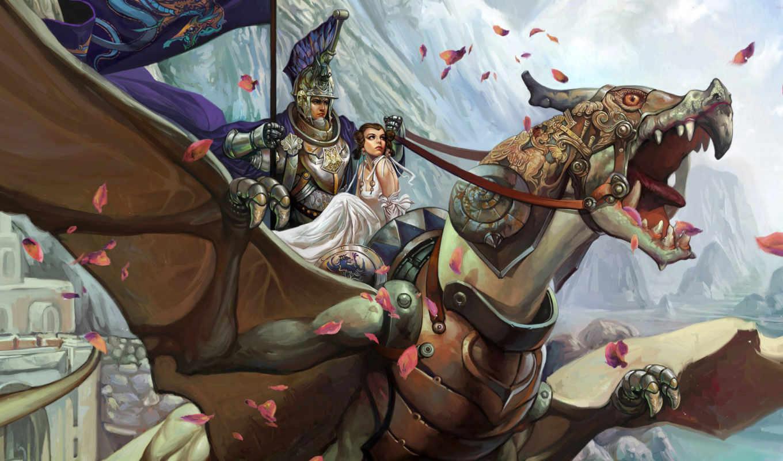 girl, warrior, download, für, dragon, flying,