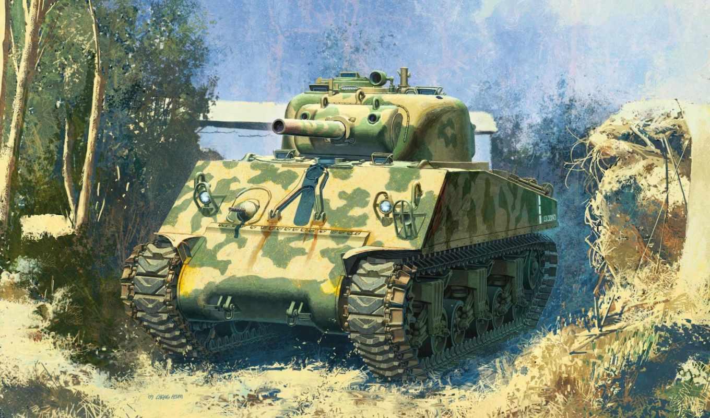 танк, sherman, гаубичный, pacific, ww, сша, средний, мм,
