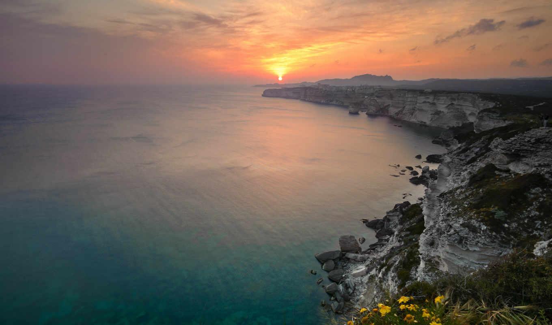 океан, горизонт, море, берег, вода, солнце, закат, скалы, природа,