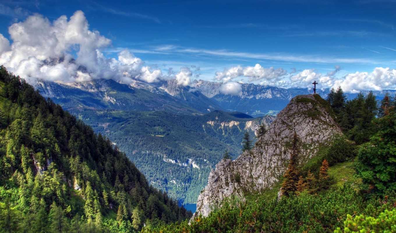 природа, горы, деревья, облака, landscape, снег,