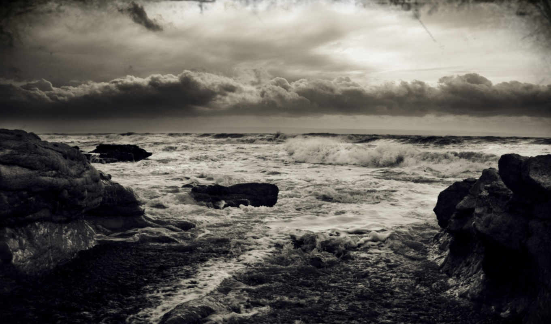 буря, море, волны, природа, тучи, ветер,