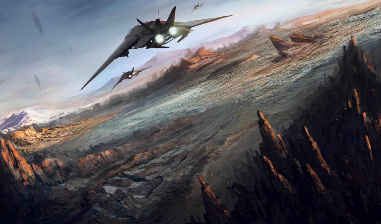 самолёт, фантастики, action, количество, fantasy, истребитель, attack,
