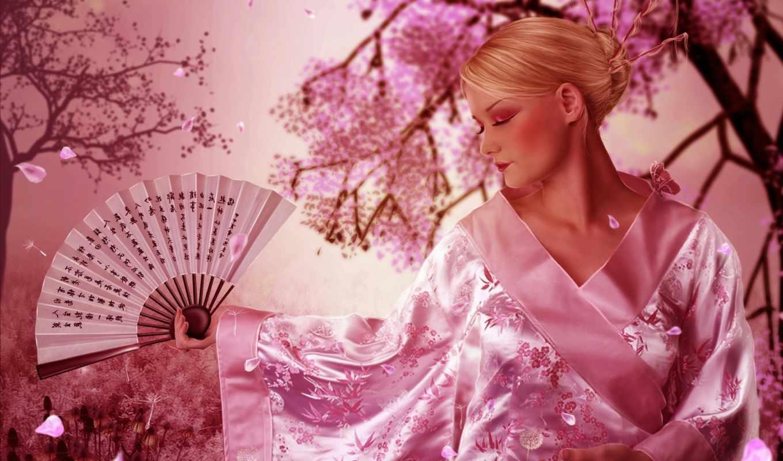 кимоно, devushka, veer, art, просмотреть, anime, Сакура, японка,