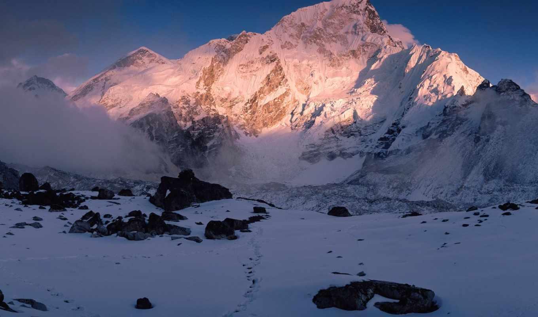 горы, фото, пейзажи -, landscape, горах, красивые, красивейшие, вечер, природа, снег,