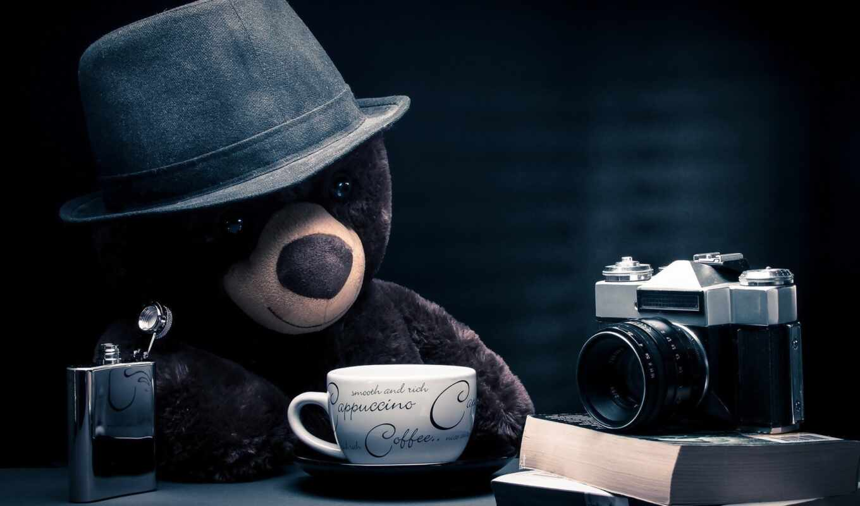 медведь, fentezti, плюшевый, coffee, шляпа, который, хороший, blue, tehnika