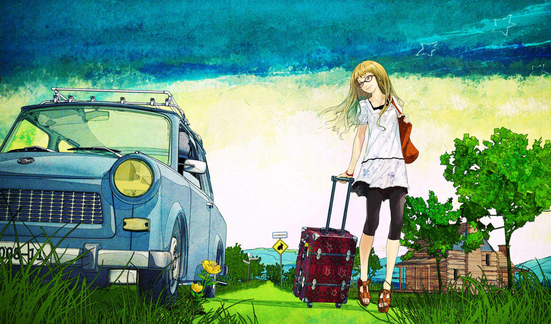 чемодан, обои, деревья, девушка, blonde,