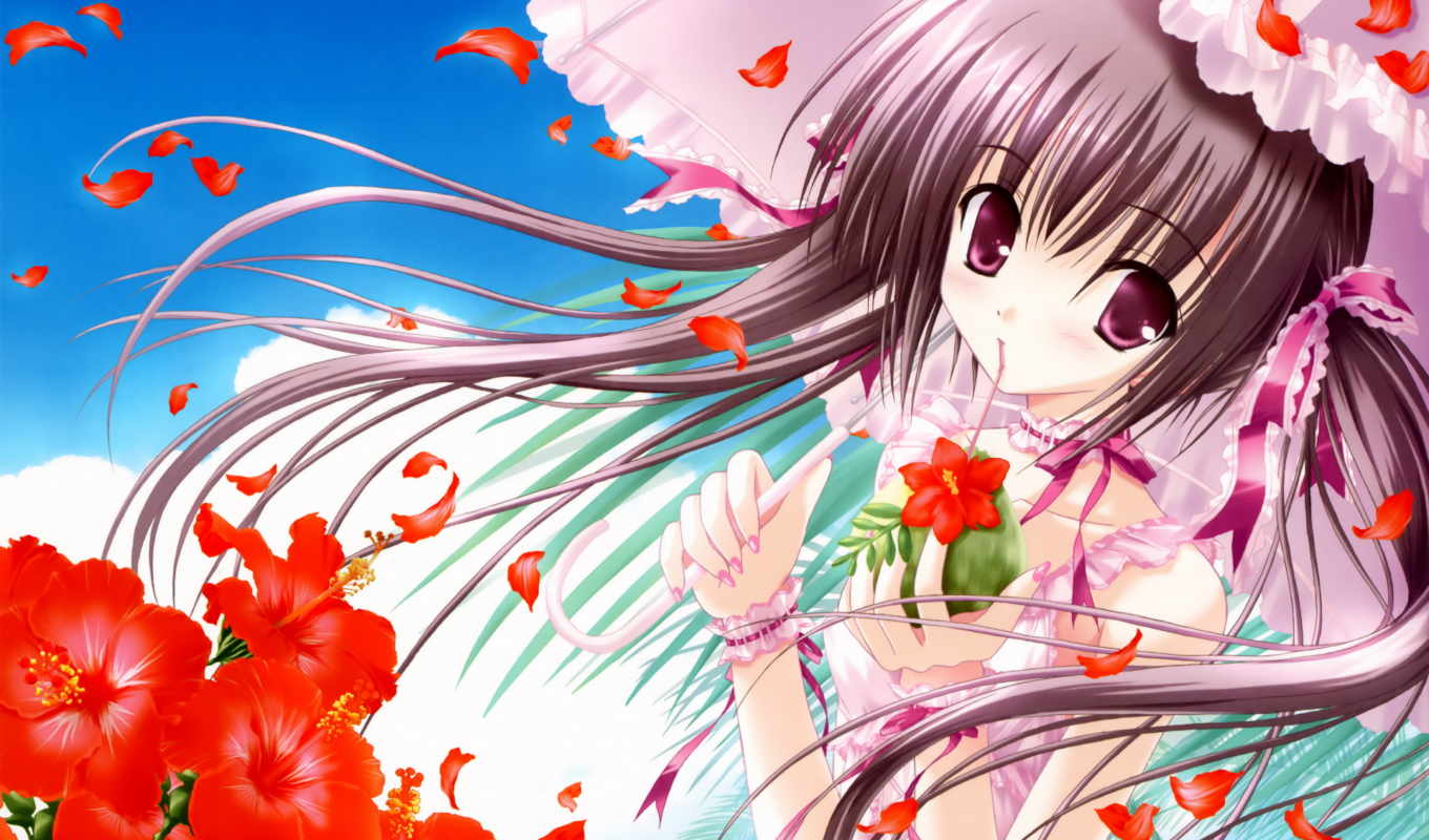 anime, pink, eyes, flower, tinkle, art, flowers, umbrella, ribbons, with, hair, category, sakura, umbrellas, brunettes,