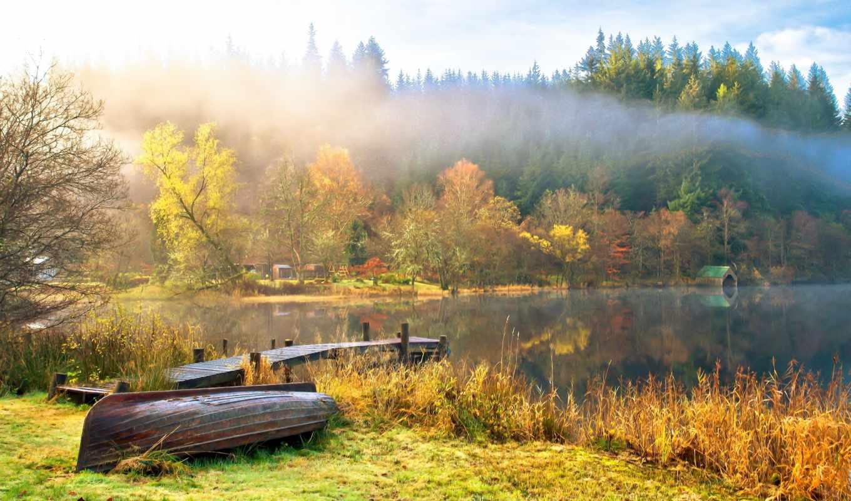 пейзаж, облака, небо, природа, озеро, вода, лодки, картинка,