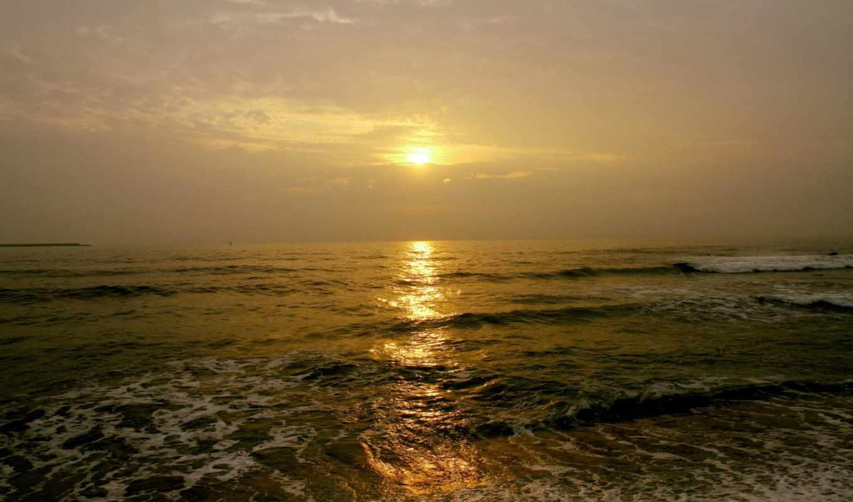 море, тучи, облака, пляж, sun, волны,