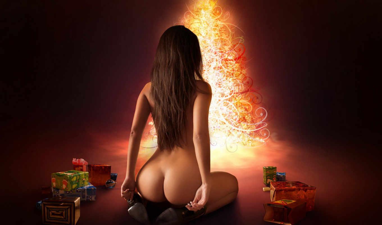 девушка, новогодние, new, год, дерево, праздник,