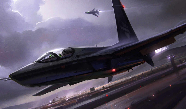 истребитель, самолёт, аэродром, небо, ночь, takeoff,