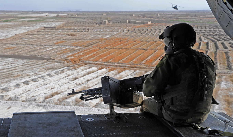 небо, поля, пулемет, солдат, вертолет, kandahar, airfield, горизонт, обзор,