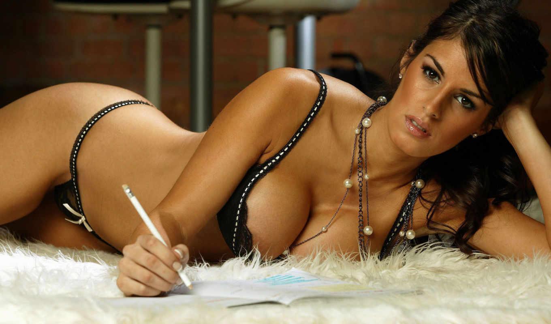 tania, девушки, nascimento, грудь, лифчик, девушка, карандаш, брюнетка, белье, ковёр, удивительными, письмо, пишет, трусики,