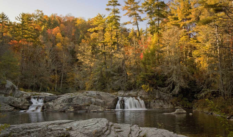 листья, fall, colorful, деревья, road, nature, природа, лес,. водопад, река, природа, river