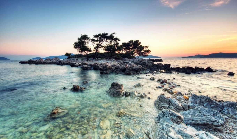 hdr, остров, small, high, река, range,