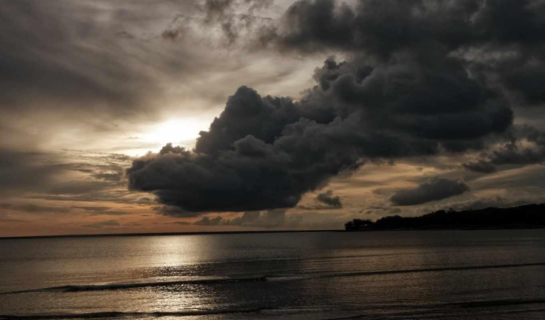 небо, тучи, море, вечер, облака, берег, природа,