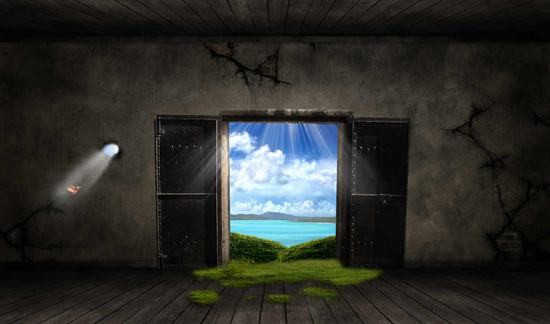 windows, дверь, fantasy, out, free, desktop,