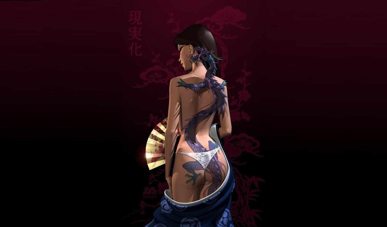 девушка, обои, дракона, татуировка, фэнтези, рисун