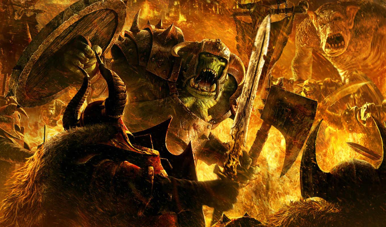 warhammer, монстры, art, battle, fantasy, orc, mark, chaos, game, картинка, march, battles, fight, õ½, гномы, огонь, монстр, games, digital, artwork,