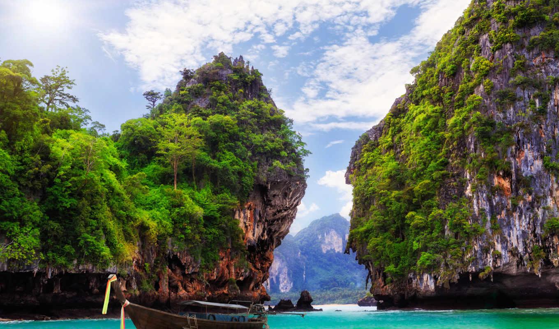 krabi, nâng, thailand, нанг, океан, горы, скалы, лодка, best, залив, ао, hintergrundbilder,
