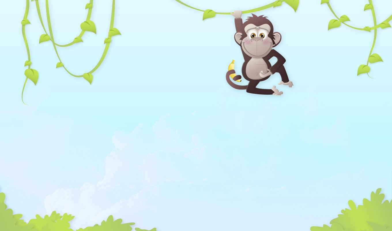 обезьяны, джунгли, настроение, обезьяна, животные, арт, деревья, минимализм, картинка,