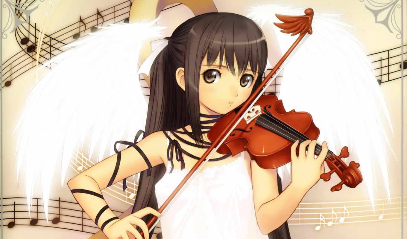 tony, taka, аниме, hair, music, violin, brown, girl, long, wings, ribbons, eyes, dress, twintails, скрипачка, que, instruments, brunettes, violins, artist,
