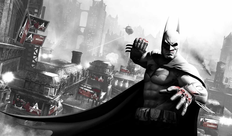 batman, arkham, city, бэтмен, кулак, готэм, кровь, дирижабль,