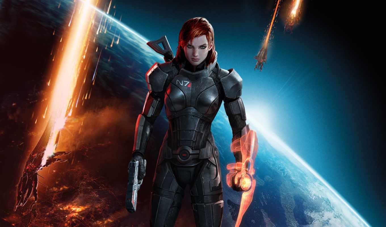 mass, effect, red, eyes, green, earth, мас, game, hair, girl, armour, max, shepard, guns, корабли, взрывы, космос, броня, зеленоглазая,