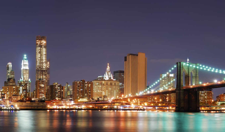 , ночь, ночной, нью йорк, мост, река,