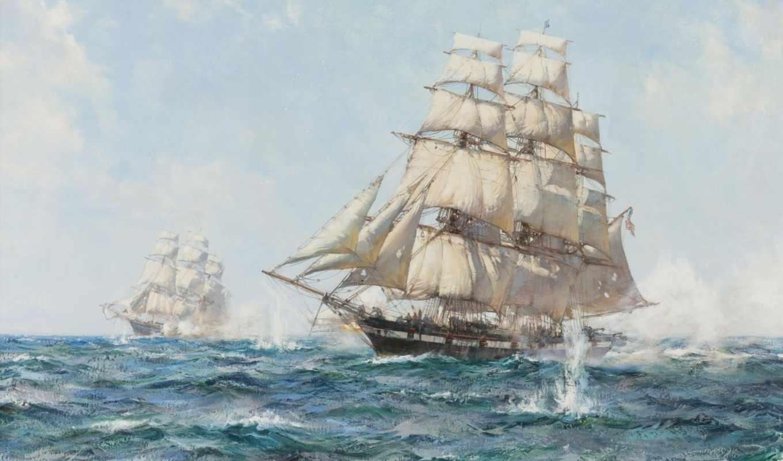 корабль, skimming, dawson, montague, облако, рубрика, clipper, home, flying, волна, море,